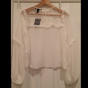 Forever 21 Tops - Sheer White Blouse with Stars